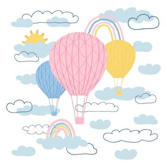 気球、太陽、虹、漫画風の雲と子供のポスター。キッズプリントのキュートなコンセプト。デザインはがき、テキスタイル、アパレルのイラスト。ベクター