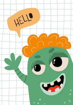 Children's poster with funny monster in cartoon style. cute concept with lettering hello for kids print.