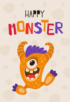 Children's poster with funny monster in cartoon style