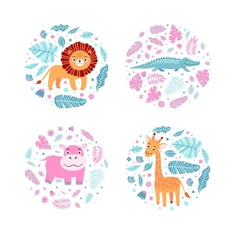 Children s prints with giraffe, hippo, crocodile, lion and leaves in round shapes. children s characters for clothes, a t-shirt with a print, stickers, invitation card, packaging. vector illustration