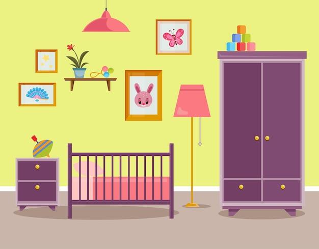 신생아를 위한 어린이 방 침대 서랍장이 있는 어린 소녀를 위한 핑크 인테리어