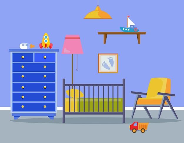 신생아를 위한 어린이 방 인테리어는 유아용 침대 안락의자가 있는 어린 소년을 위한 파란색입니다.