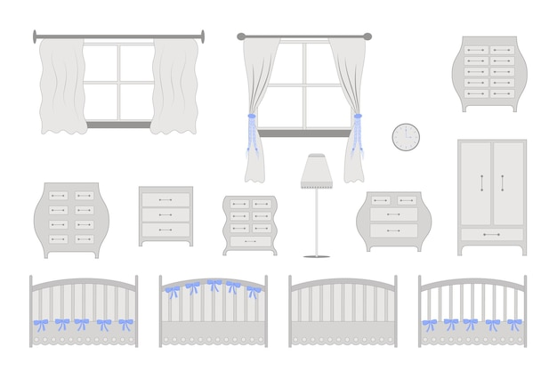 Children's room furniture. placement in the room for the child.