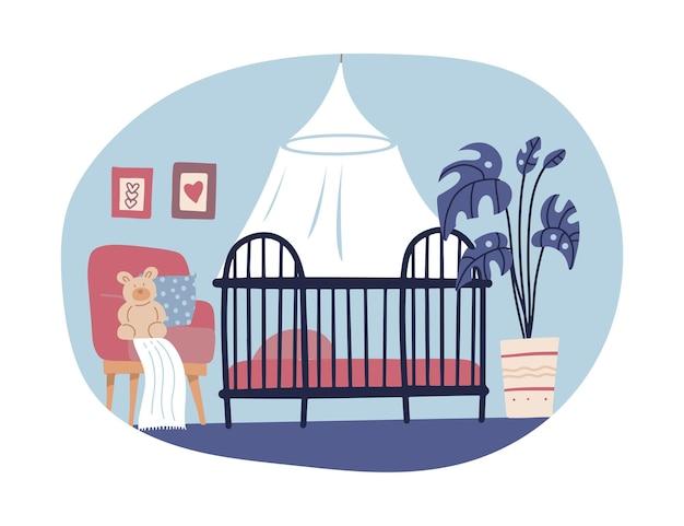 손으로 그린 스칸디나비아 스타일의 어린이 방 인테리어 디자인