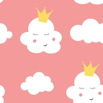 Children's seamless pattern background with cloud princess