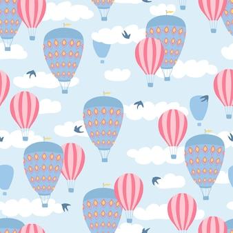 気球と子供のシームレスなパターン