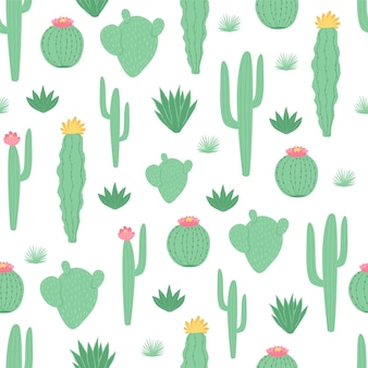 Children's seamless pattern with cactus in cartoon style