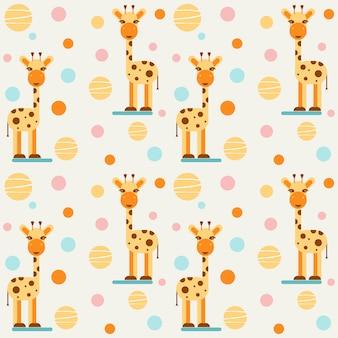 Children's seamless pattern with giraffes and balls