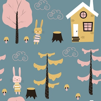 Children's seamless pattern with a house and hares