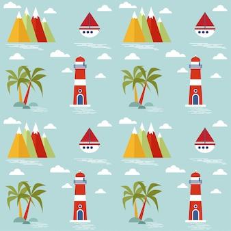 Children's seamless pattern with marine theme