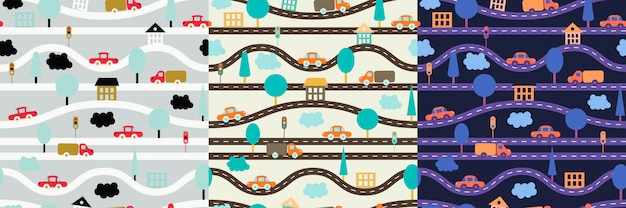 Children's seamless pattern with roads, cars, trees, traffic lights, houses and clouds.