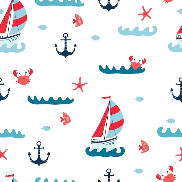흰색 바탕에 요트, 불가사리, 게, 닻, 물고기가 있는 아이들의 매끄러운 패턴입니다. 어린이 방 디자인, 벽지, 직물, 포장지, 의류를 위한 귀여운 질감. 벡터 일러스트 레이 션