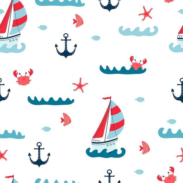 Children's seamless pattern with sailboats, starfish, crab, anchor and fish on white background. cute texture for kids room design, wallpaper, textiles, wrapping paper, apparel. vector illustration