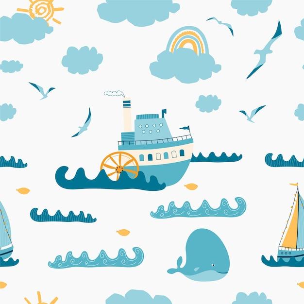 Детский бесшовный образец с морским пейзажем, пароходом, парусником, китом, чайкой на белом фоне.