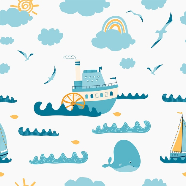 Children's seamless pattern with seascape, steamer, sailboat, whale, seagull on white background.