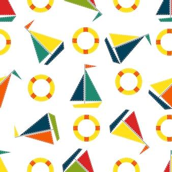 배와 구명부표가 있는 아이들의 매끄러운 패턴입니다. 아동복, 보육원, 직물 인쇄용 해양 디자인.