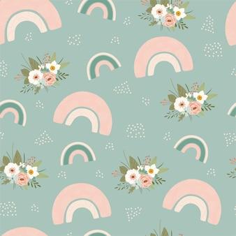 パステルカラーの春の虹と花と子供のシームレスなパターン。キッズルームのデザイン、壁紙、テキスタイル、包装紙、アパレルのかわいいテクスチャ。ベクトルイラスト