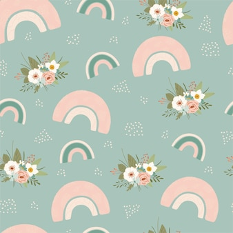 Children's seamless pattern with spring rainbow and flower in pastel colors. cute texture for kids room design, wallpaper, textiles, wrapping paper, apparel. vector illustration