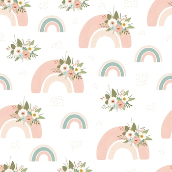 Children's seamless pattern with spring rainbow and flower in pastel colors.
