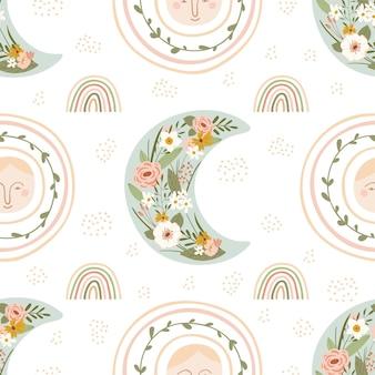 パステルカラーの春の虹、月、太陽、鳥、花と子供のシームレスなパターン。キッズルームのデザイン、壁紙、テキスタイル、包装紙、アパレルのかわいいテクスチャ。ベクトルイラスト