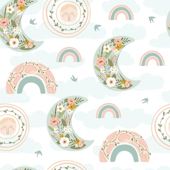 Children's seamless pattern with spring rainbow, moon, sun, bird and flower in pastel colors.