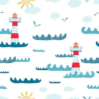 Детский фон с пейзажем, маяком, чайкой на белом фоне. симпатичные текстуры для дизайна детской комнаты, обоев, текстиля, оберточной бумаги, одежды. векторная иллюстрация