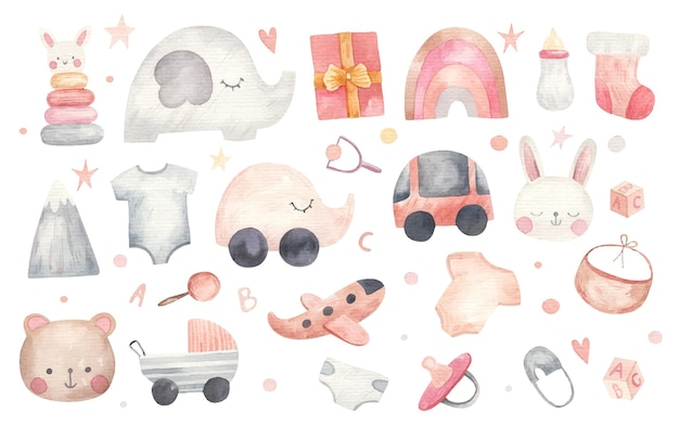 흰색에 사물, 옷, 장난감, 선물, 수채화 그림의 어린이 세트