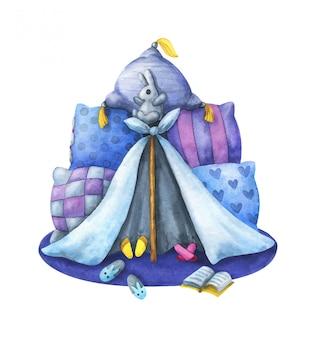 Детский приют из подушек и одеял синего и фиолетового цвета.