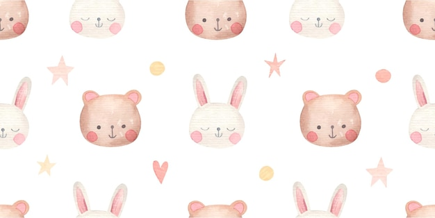 Children's simple seamless pattern with cute animals, bear and rabbit, watercolor on white background
