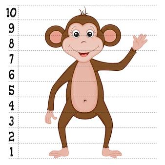 Детская игра-скетч с образцом обезьяны. мультяшный стиль. векторная иллюстрация.