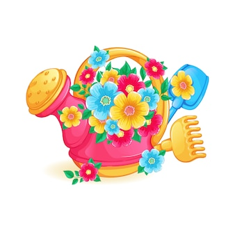 Children's toy bright watering can with a bouquet of flowers.