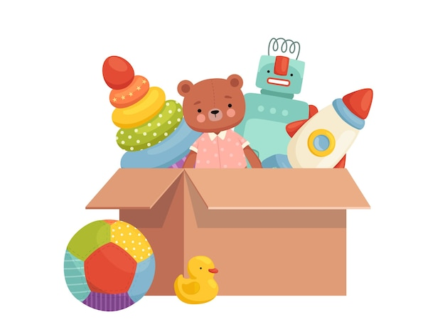 상자에있는 어린이 장난감. 게임 및 엔터테인먼트를 위해 수집 된 인벤토리. 아이들의 물건을 주문하십시오. 만화 플랫 흰색 배경에 고립.