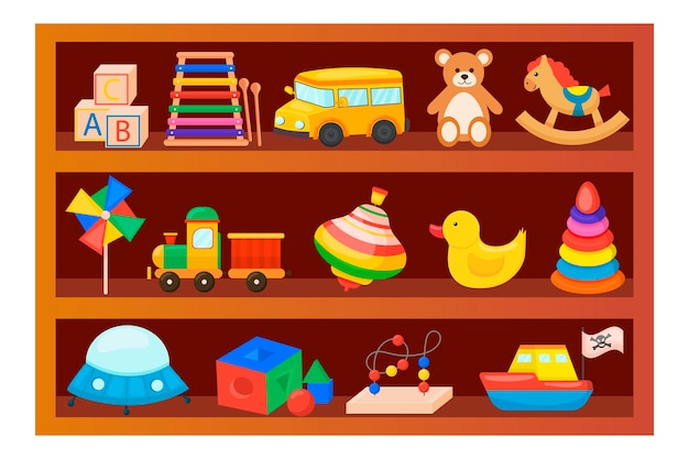 Детские игрушки на деревянной полке. мультяшный стиль. набор. для вашего дизайна.