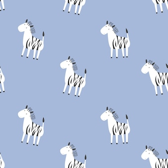 Children's vector seamless pattern with zebras. doodle style