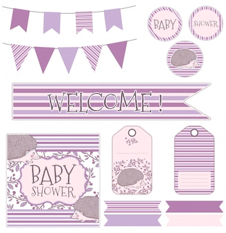 Children's vector set for the birth of a child