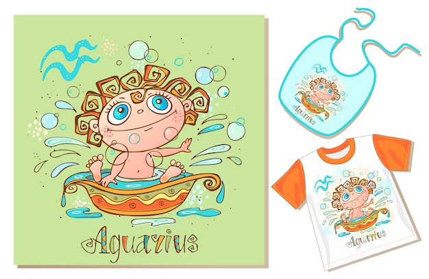 Children's zodiac. aquarius sign. examples of application on t-shirt and bib.