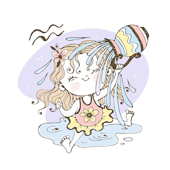 Children's zodiac. aquarius sign. the sweet girl is drenched in water.