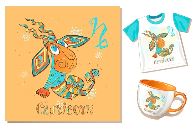 Children's zodiac. capricorn. application examples on t-shirt and mug.