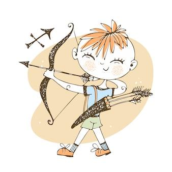 Детский зодиак. знак стрельца. мальчик с луком.