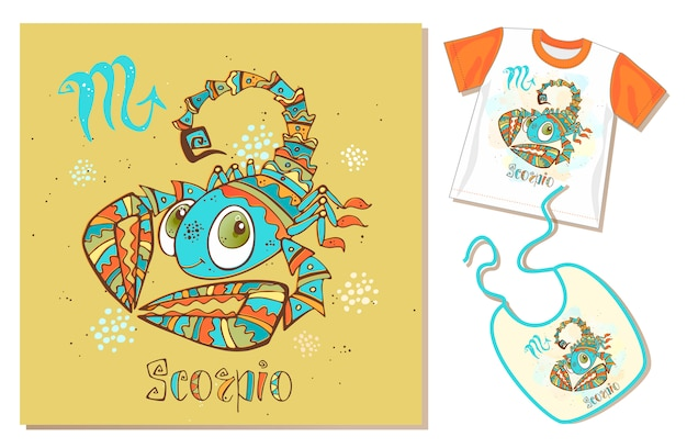 Children's zodiac. scorpio sign. examples of application on t-shirt and bib.