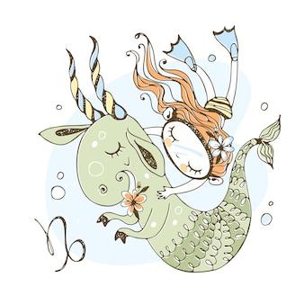 Детский зодиак. знак козерога. девушка плавает со сказочным козерогом.