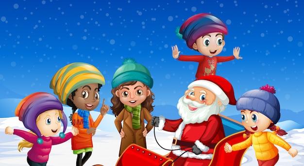 Children and santa claus in winter background