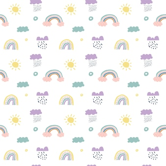 Children  scandinavian seamless pattern clouds, rain, sun and rainbow