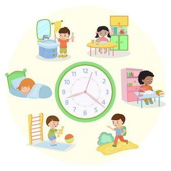 Children schedule banner  illustration. daily routine. set of kids activities, child waking up, sleeping, brushing teeth, eating, going to school, learning, doing exercises.