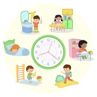 Детский график баннер иллюстрации. повседневные дела. набор детских мероприятий, ребенок просыпается, спит, чистит зубы, ест, ходит в школу, учится, делает зарядку.