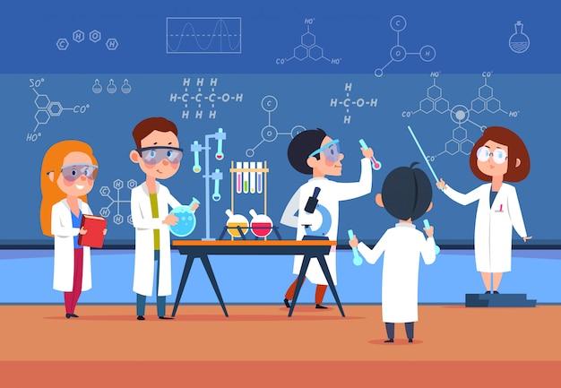 Children in science laboratory make test.