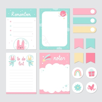 Children scrapbook stationery tape and notepads