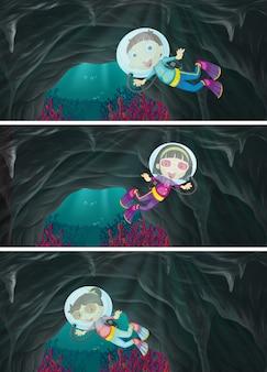 Детское подводное плавание под водой Premium векторы