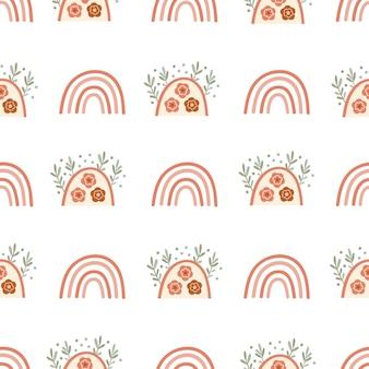子供虹と花柄のシームレスなパターンデザイン。