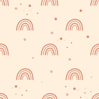 Children seamless pattern design  with rainbows and confetti.